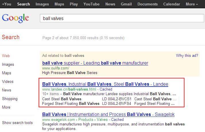 英文SEO案例 - Ball Valves, Gate Valves英文Google第2页