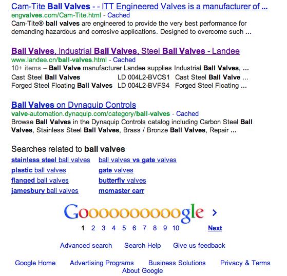 英文SEO案例 Ladee Ball Valves  Google 第9位