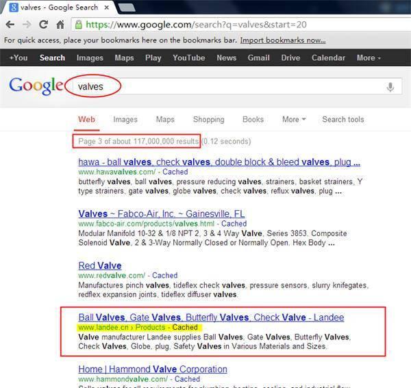 英文Google优化效果:Valves阀门google.com自然排名第24位