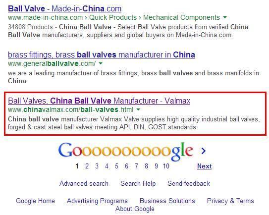 谷歌优化案例: China Ball Valve谷歌第一页